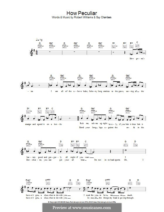 How Peculiar: Melody line, lyrics and chords by Guy Chambers, Robbie Williams
