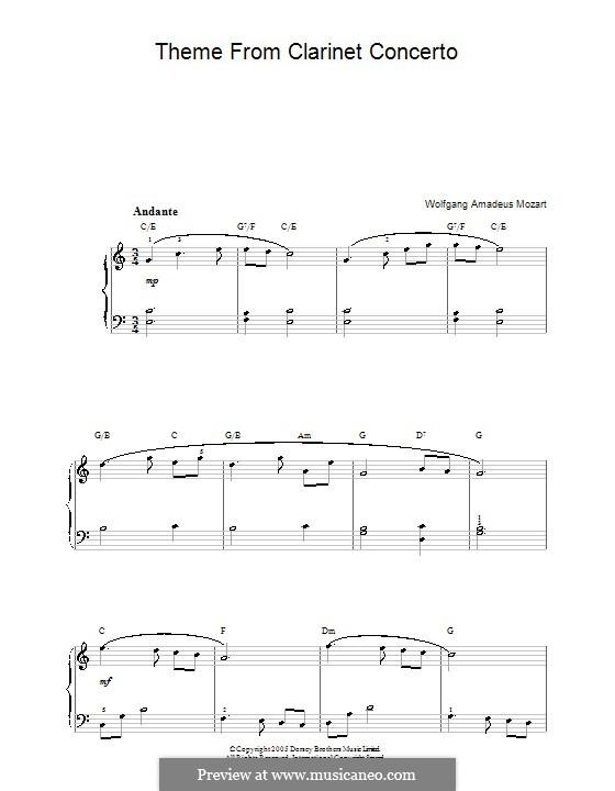 Konzert für Klarinett und Orchester in A-Dur, K.622: Adagio. Klavierversion für Anfänger by Wolfgang Amadeus Mozart