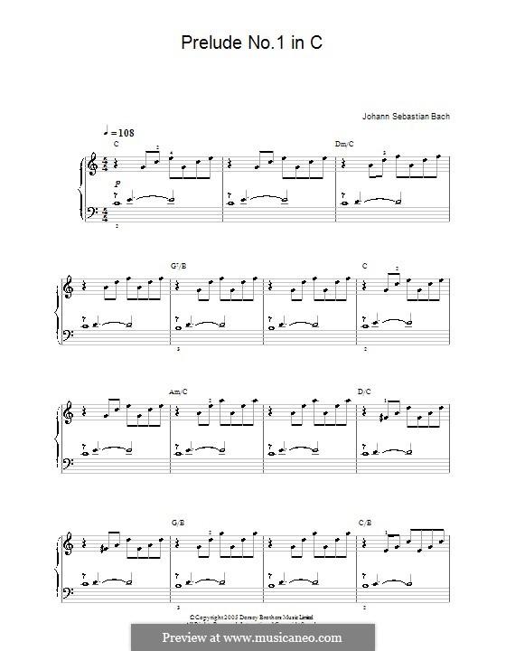 Präludium und Fuge Nr.1 in C-Dur, BWV 846: Prelude, for easy piano by Johann Sebastian Bach