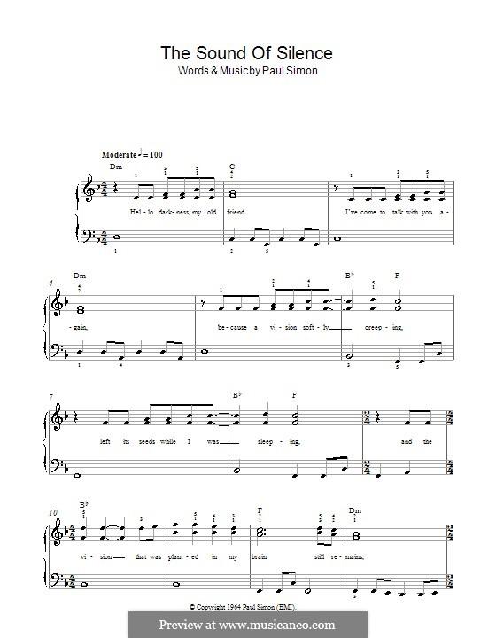 The Sound of Silence (Simon & Garfunkel): Für Klavier, leicht by Paul Simon