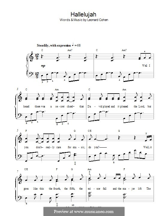 Hallelujah, for Piano: Version für leichtes Klavier (high quality sheet music) by Leonard Cohen