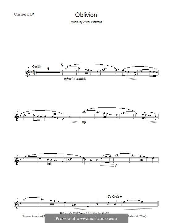 Oblivion: Für Klarinette by Astor Piazzolla