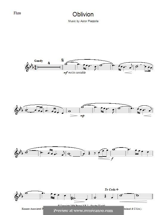 Oblivion: Für Flöte by Astor Piazzolla