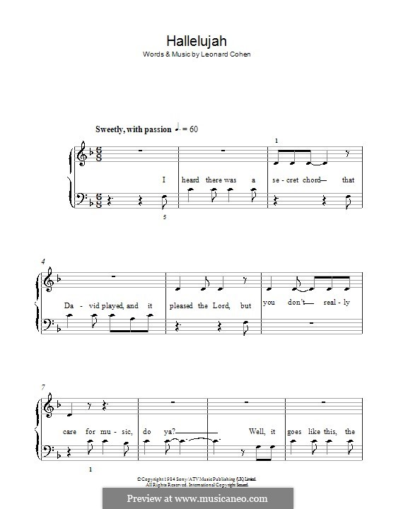 Hallelujah, for Piano: Version für leichtes Klavier (with lyrics) by Leonard Cohen