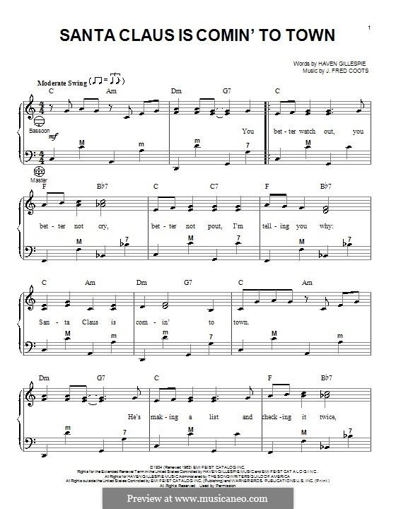 santa claus is coming to town sheet music pdf