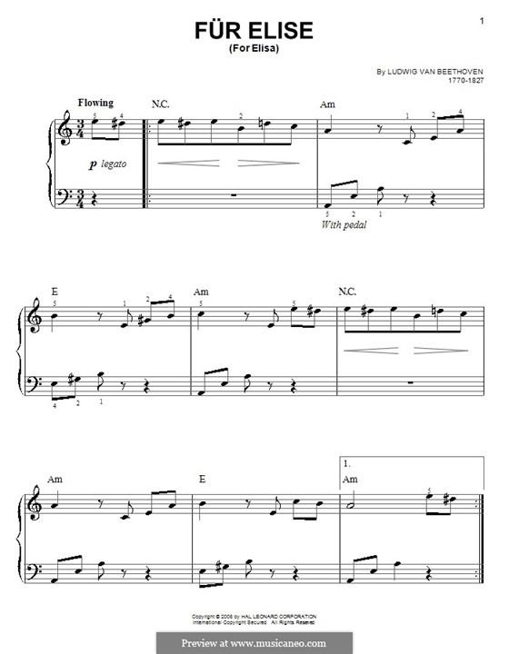 Für Elise, für Klavier, WoO 59: Easy version by Ludwig van Beethoven