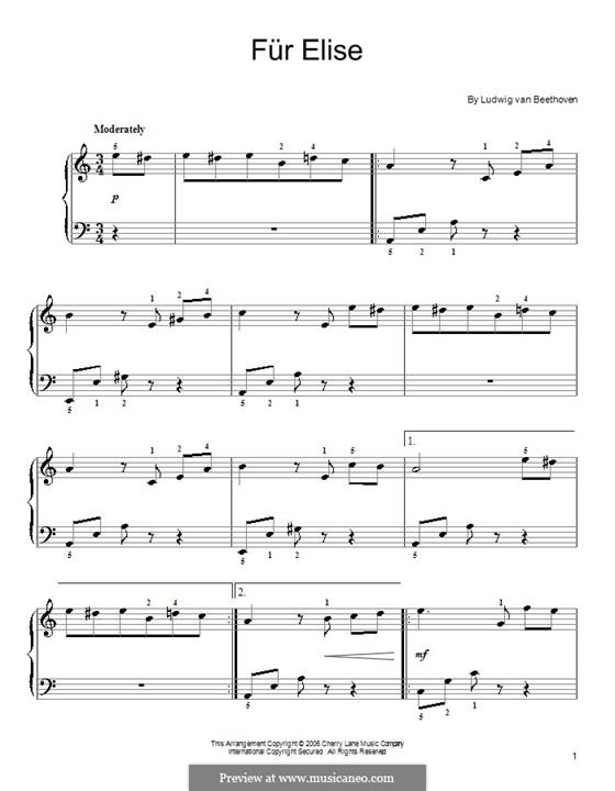 Für Elise, für Klavier, WoO 59: Thema by Ludwig van Beethoven