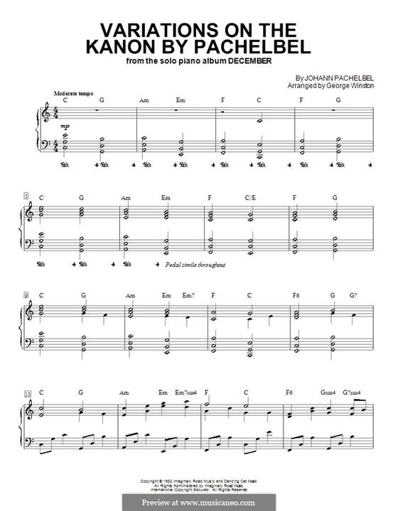 Kanon in D-Dur: Für Klavier mit Akkorden by Johann Pachelbel