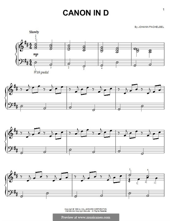 Kanon in D-Dur: Einfache Noten für Klavier by Johann Pachelbel