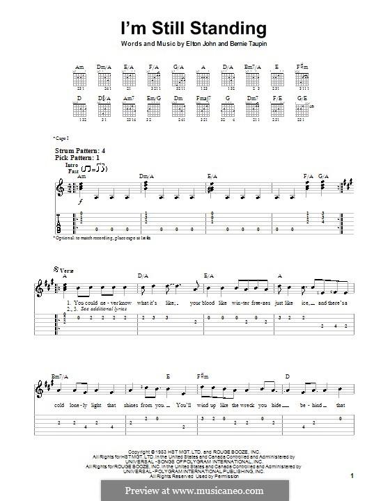 I'm Still Standing: Für Gitarre (Sehr leichte Fassung) by Elton John