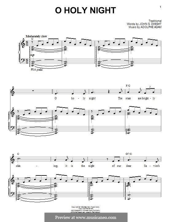 O hehre Nacht: Für Stimme und Klavier (oder Gitarre) by Adolphe Adam