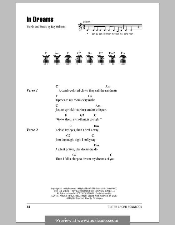 In Dreams Von R Orbison Noten Auf Musicaneo