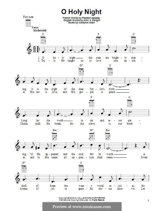 O hehre Nacht: Für Ukulele by Adolphe Adam