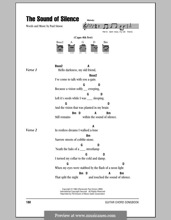 The Sound of Silence (Simon & Garfunkel): Text und Akkorde by Paul Simon
