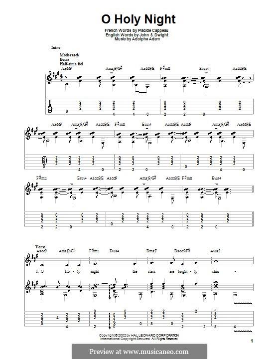 O hehre Nacht: Für Gitarre mit Tabulatur (Noten von hoher Qualität) by Adolphe Adam