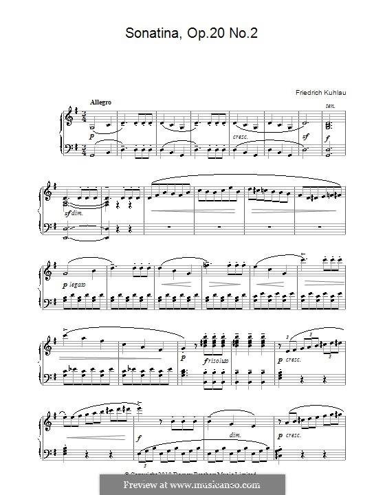 Drei Sonatinen für Klavier, Op.20: Sonatine Nr.2 by Friedrich Kuhlau