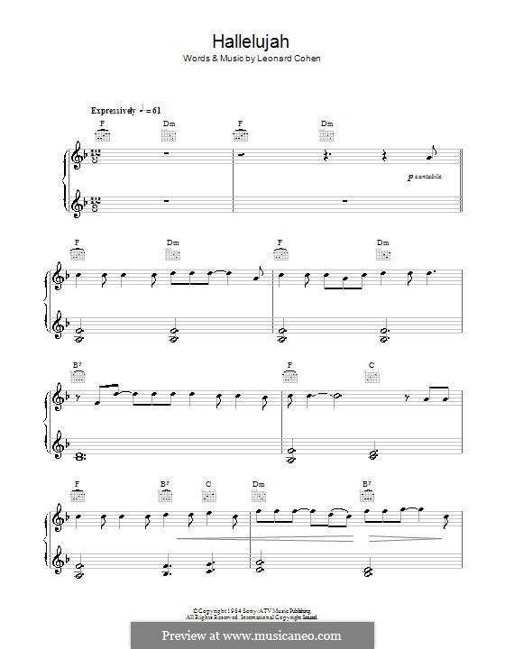 Hallelujah, for Piano: Leichte Version für Klavier (mit Akkorden) by Leonard Cohen
