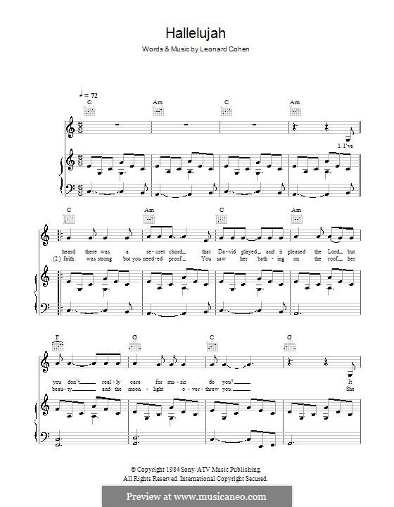 hallelujah leonard cohen sheet music free pdf violin