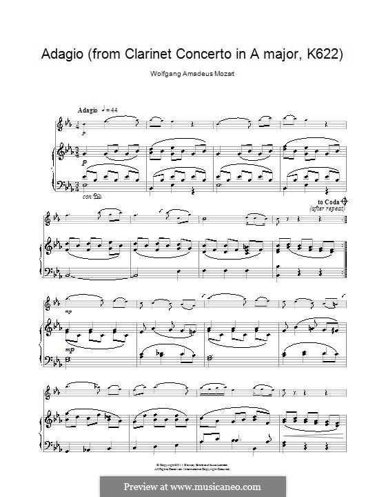 Konzert für Klarinett und Orchester in A-Dur, K.622: Adagio. Version für Klarinette und Klavier by Wolfgang Amadeus Mozart