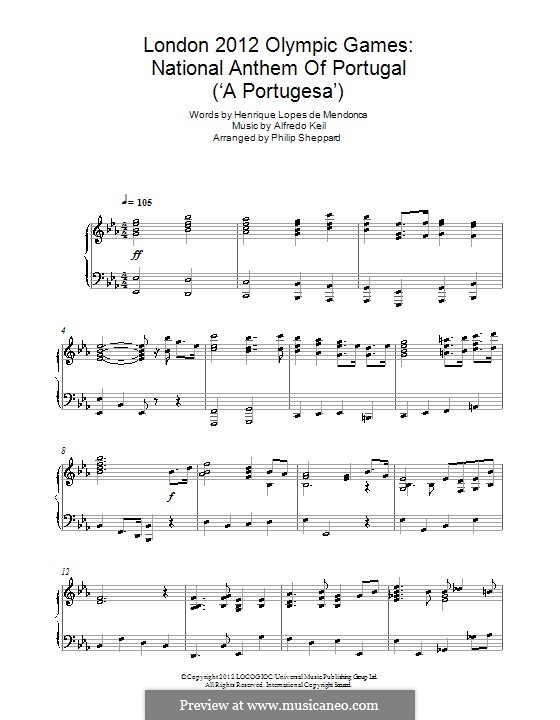 London 2012 Olympic Games: National Anthem of Portugal ('A Portugesa'): Für Klavier by Alfredo Keil