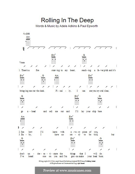 adele rolling in the deep notes pdf