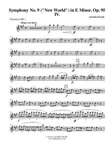 Teil IV: Klarinette in B 1 (transponierte Stimme) by Antonín Dvořák