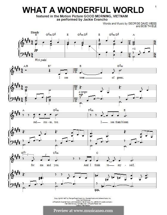 What A Wonderful World Von B Thiele G D Weiss Noten Auf Musicaneo