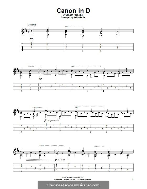 Kanon in D-Dur: Für Gitarre mit Tab by Johann Pachelbel