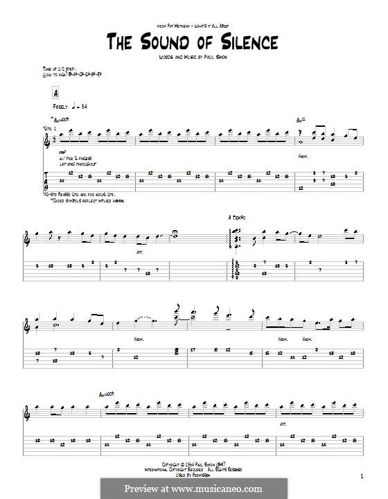 The Sound of Silence (Simon & Garfunkel): Für Gitarre mit Tab by Paul Simon