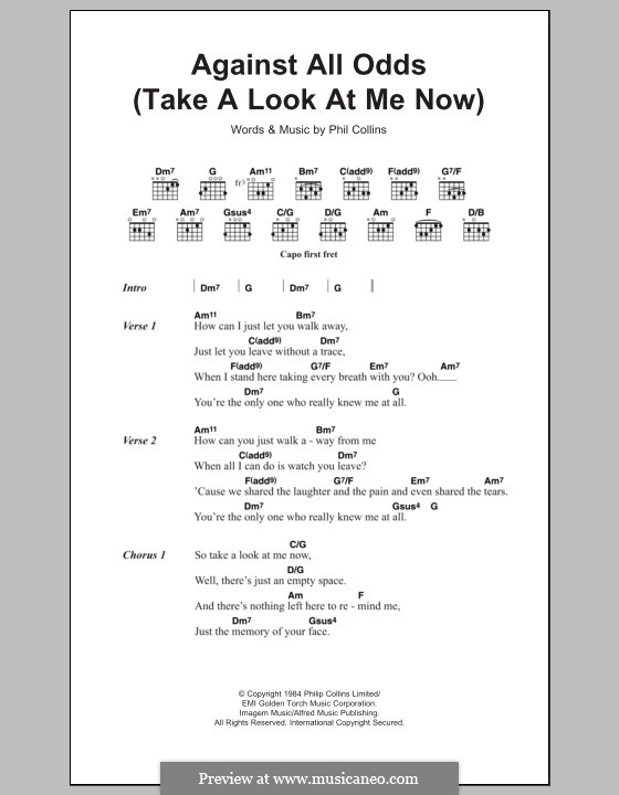 Against All Odds (Take a Look at Me Now): Texte und Akkorde by Phil Collins