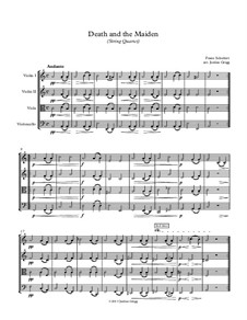 Tod und das Mädchen, D.531 Op.7 No.3: Für Streichquartett by Franz Schubert