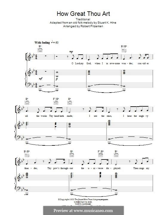 Du grosser Gott, wenn ich die Welt betrachte: Für Stimme und Klavier (oder Gitarre) by folklore