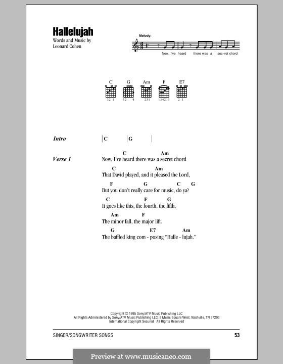 Hallelujah: Texte und Akkorde by Leonard Cohen