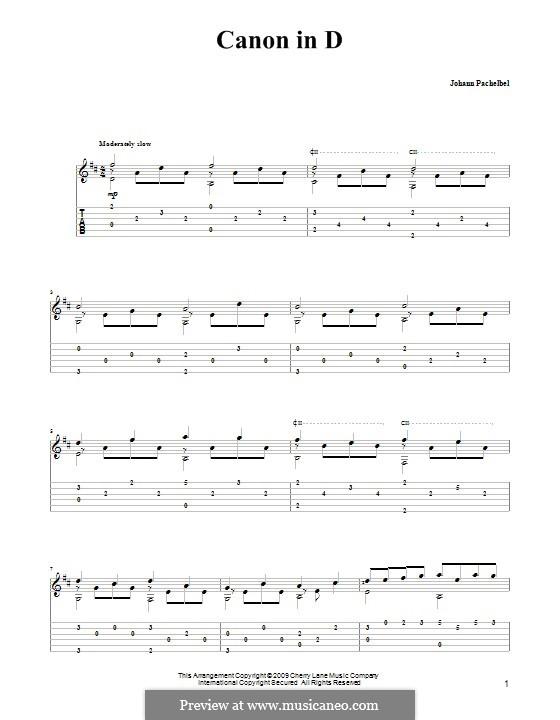 Kanon in D-Dur: Für Gitarre mit Tabulatur by Johann Pachelbel