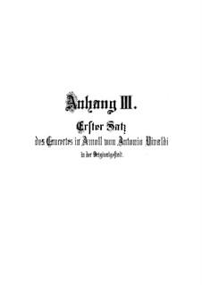 Konzert für zwei Violinen und Streicher Nr.8 in a-Moll, RV 522: Teil I by Antonio Vivaldi