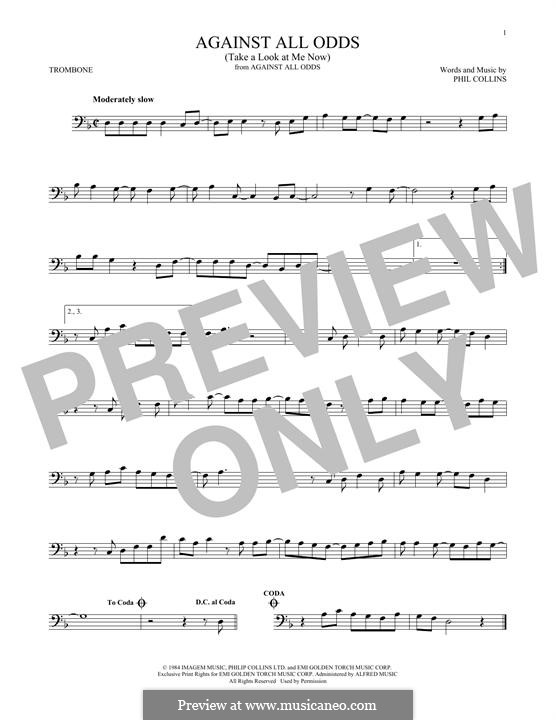 Against All Odds (Take a Look at Me Now): For trombone by Phil Collins