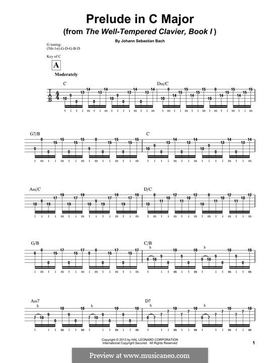 Präludium und Fuge Nr.1 in C-Dur, BWV 846: Prelude, for banjo by Johann Sebastian Bach