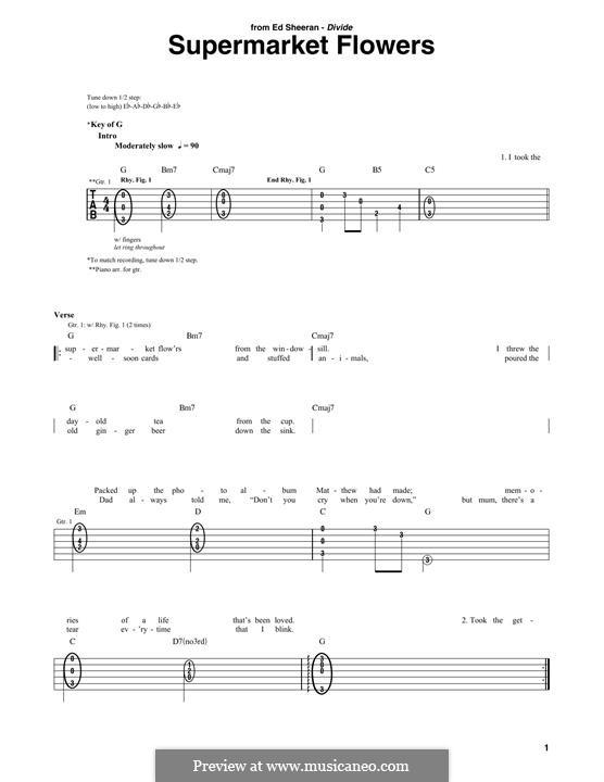 Supermarket Flowers: Für Gitarre mit Tabulatur by Ed Sheeran, Benjamin Levin, John McDaid