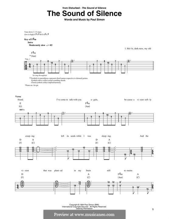 The Sound of Silence (Simon & Garfunkel): Für Gitarre mit Tabulatur by Paul Simon