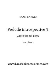 Prelude introspective 3 'Canto per un fiore' for piano: Prelude introspective 3 'Canto per un fiore' for piano by Hans Bakker