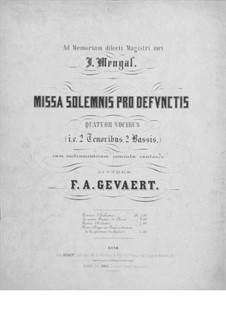 Missa solemnis pro defunctis: Vollpartitur by Franois-Auguste Gevaert