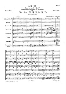 Vado, ma dove? Oh Dei, K.583: Vollpartitur by Wolfgang Amadeus Mozart