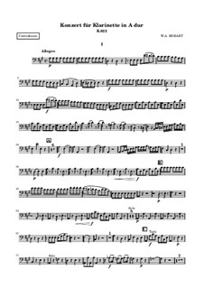 Konzert für Klarinett und Orchester in A-Dur, K.622: Kontrabass-Stimme by Wolfgang Amadeus Mozart