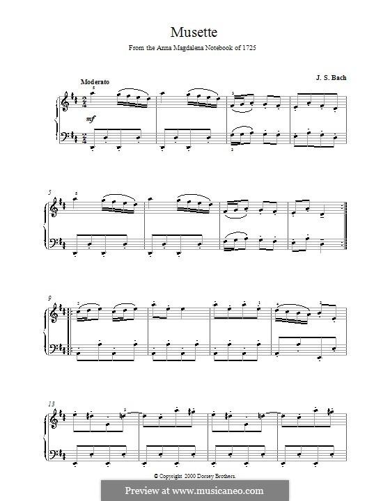 Nr.22 Musette in D-dur, BWV Anh.126: Für Klavier by Johann Sebastian Bach