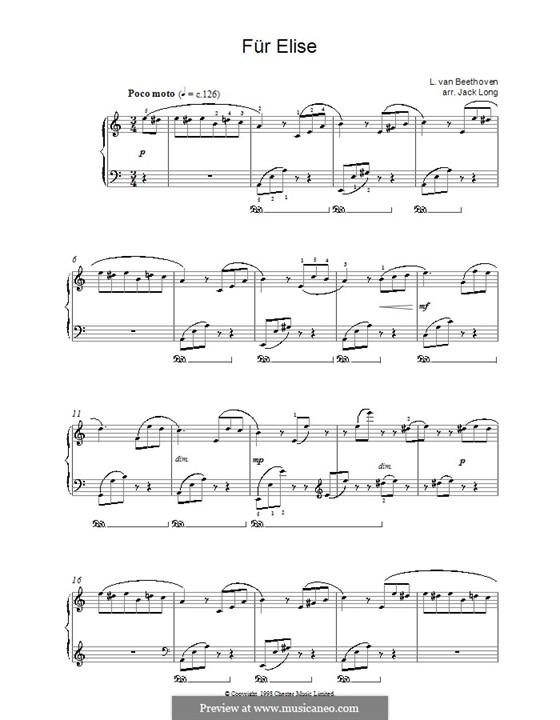 Für Elise, für Klavier, WoO 59: Version von Jack Long by Ludwig van Beethoven