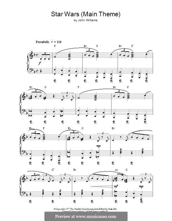 star wars main theme sheet music pdf