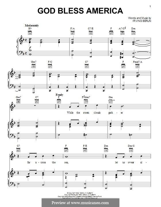 God Bless America: Für Stimme und Klavier (oder Gitarre) by Irving Berlin
