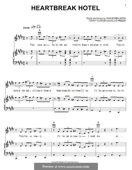 Heartbreak Hotel (Elvis Presley): Für Stimme und Klavier (oder Gitarre) by Mae Boren Axton, Tommy Durden