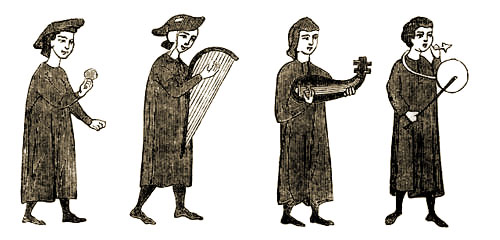 Troubadours playing their instruments