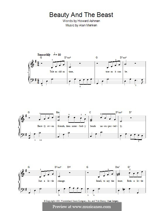 Beauty and the Beast (Celine Dion and Peabo Bryson): facil para piano (G maior) by Alan Menken